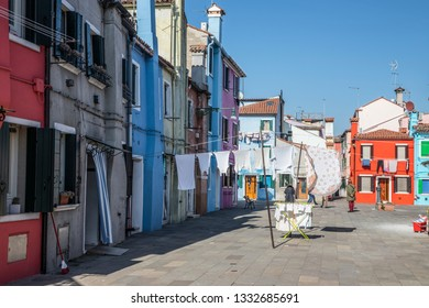 The colorful houses in Burano Island, Venice