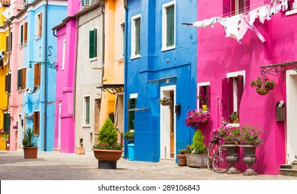 Colorful houses in Burano island, Venice