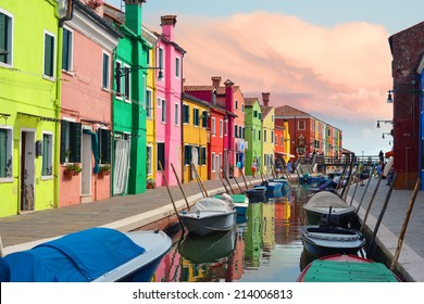 Colorful houses in Burano village on sunset near Venice, Italy