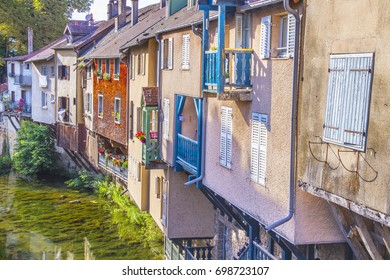 Colorful houses by a canal