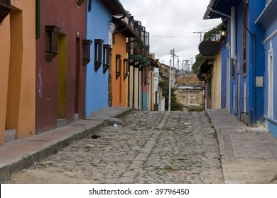Colorful houses in the candelaria section of bogota