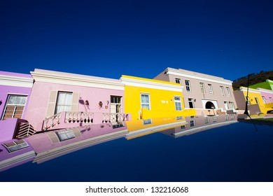 colorful houses in Cape Town, Bo Kaap area.