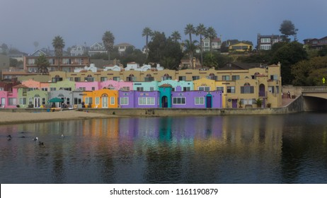 Colorful houses at the Capitola,CA Beach on a misty foggy morning