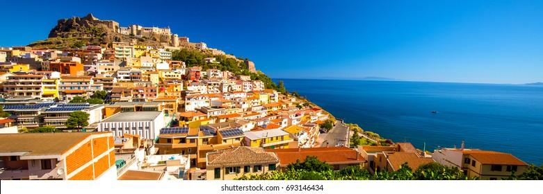 Colorful houses in Castelsardo town, Sardinia, Italy