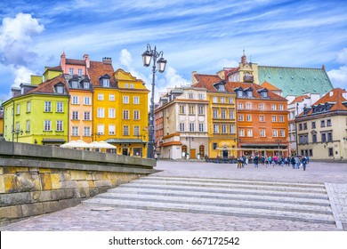 Colorful houses in Castle Square in the Old Town of Warsaw, capital of Poland.