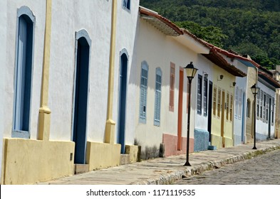 Colorful houses of Cidade de Goias in Brazil