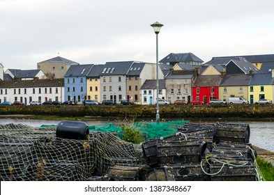 Colorful houses of Claddagh. Galway, Ireland
