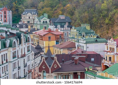 Colorful houses in a classic style from above. Architecture