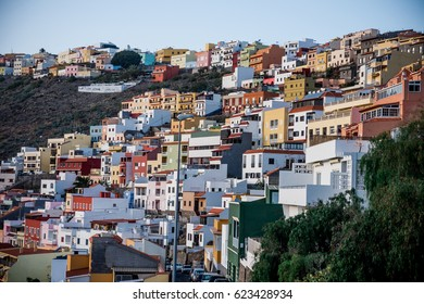 Colorful houses and colonial architecture of La Gomera