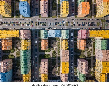 Colorful houses in Comfort Town district in Kyiv. Top view panoramic photo. Horizontal.