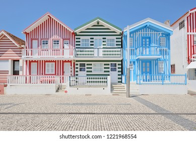 Colorful houses in Costa Nova- Aveiro, Portugal