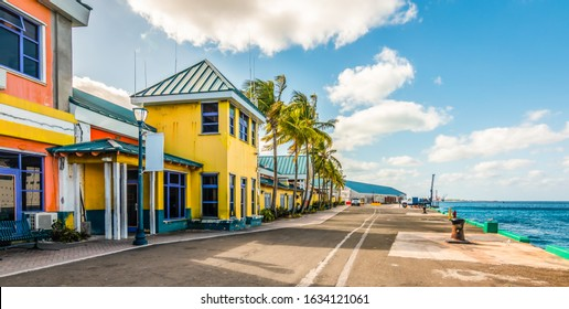 Colorful houses at the cruise terminal and port of Nassau, Bahamas.