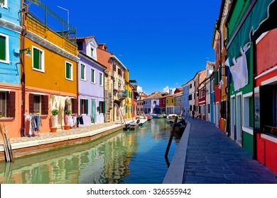 Colorful houses at daytime in Burano. Venice, Italy
