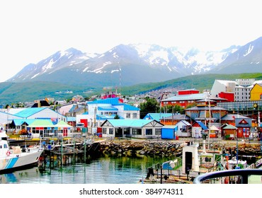 Colorful houses at the end of the world. Multi colored houses in the Patagonian city of Ushuaia, Argentina. Ushuaia is the capital of the Argentine province of Tierra del Fuego.