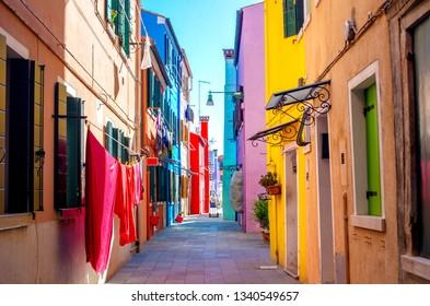 Colorful houses facade in Burano, Venice, Italy