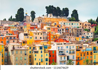 colorful houses facades, Menton old town, France