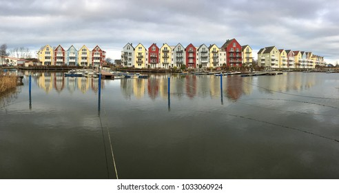 Colorful houses in Greifswald (Germany), panorama