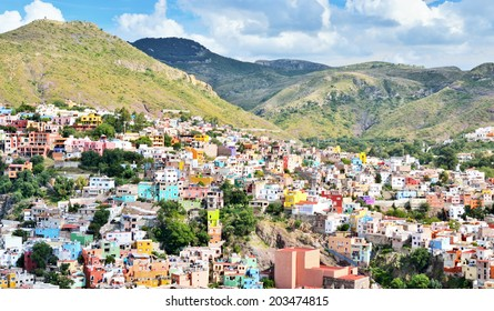 Colorful Houses of Guanajuato in central Mexico, World Heritage Site by UNESCO.
