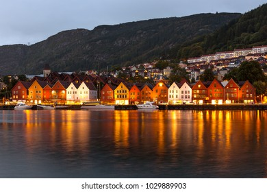 Colorful Houses in the Historic Bryggen Area in Bergen-Norway