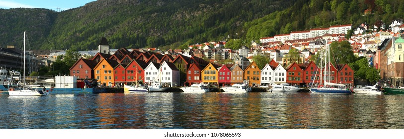 Colorful houses in the historic Bryggen area in Bergen, site on the UNESCO in Norway