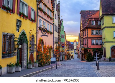 Colorful houses in historical Rothenbug ob der Tauber Old Town, Germany