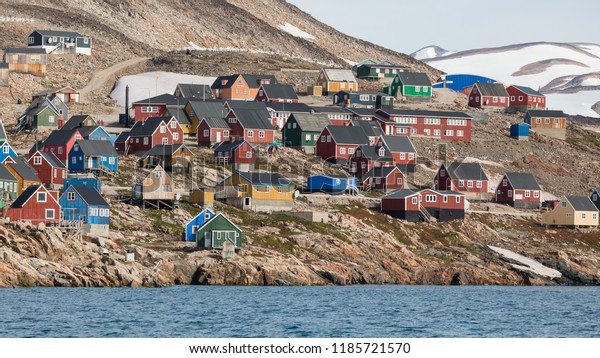 colorful houses in Ittoqqortoormiit, eastern Greenland at the entrance to the Scoresby Sound fjords