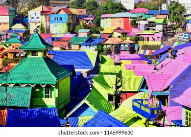 The colorful houses of Kampung Warna Warni in Jodipan area of Malang City, East Java, Indonesia