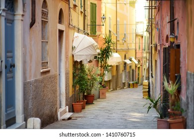 Colorful houses of Lerici town, located in the province of La Spezia in Liguria, part of the Italian Riviera, Italy.