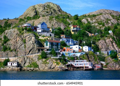 Colorful houses located on the hill in St.John's , Newfoundland