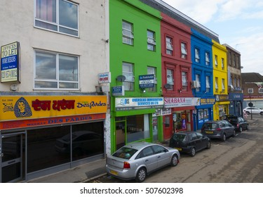 The colorful houses at London Southall at the beginning of Southall Broadway - LONDON / ENGLAND - SEPTEMBER 23, 2016