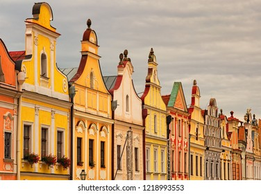 Colorful houses in the main square of the city Telc are the main tourist attraction of the city. A UNESCO World Heritage Site. Telc, Southern Moravia, Czech Republic.
