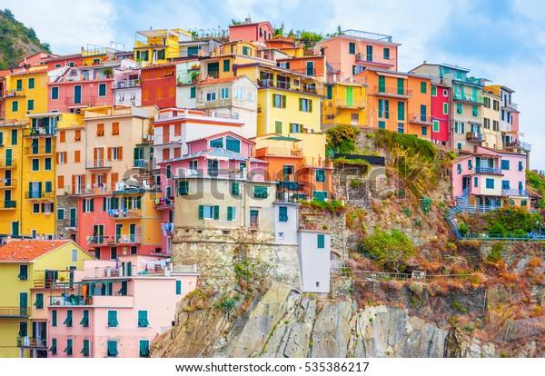 Colorful houses in Manarola, Cinque terre Italy