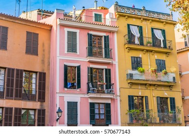 Colorful houses in the mediterranean old town of Palma, Spain Majorca, Balearic Islands.
