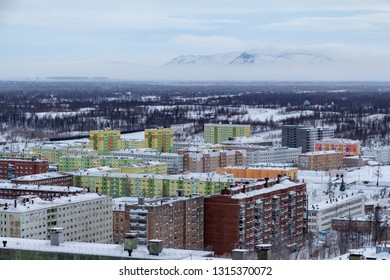 Colorful houses of north city in winter. February 3, 2019. Norilsk Talnakh