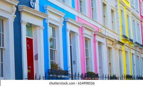 Colorful houses off Portobello Road, in the colourful Nottinghill area of Royal Borough of Kensington and Chelsea - rich part of the area - opposite community to those surrounding  grenfell tower fire