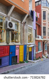 Colorful houses in old city Balat. Istanbul, Turkey.