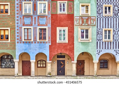 Colorful houses on Poznan Old Market Square, Poland.