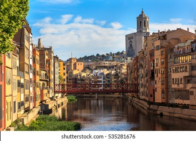 Colorful houses on the riverbed. Girona. Spain.