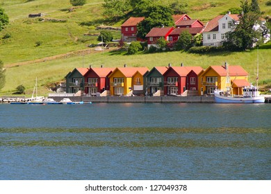 Colorful houses on the shore of Oslo fjord