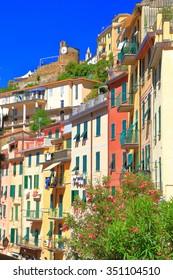 Colorful houses on sunny hillside in Riomaggiore, Cinque Terre, Italy