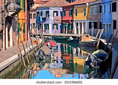 Colorful houses of picturesque Burano island, Venice, Veneto, Italy. March 18, 2016.