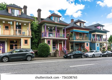Colorful houses in Portland, Oregon Portland,Oregon,USA - June 9, 2017 : Colorful houses in Glisan street