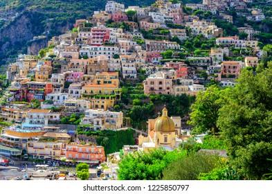 colorful houses in Positano on Amalfi coast, Italy