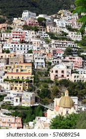 The colorful houses of Positano stacked on a precitous hillside, Italy