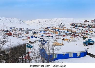 Colorful houses, Qaqortoq winter landscape, Greenland, Europe