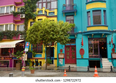 Colorful houses and restaurants on Yerebatan street in Sultanahmet Istanbul, Turkey - November 15, 2012