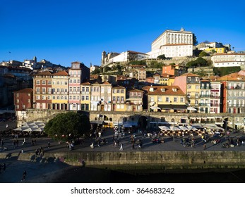 Colorful houses of Ribeira Square located in the historical center of Porto, Portugal along the river Douro.