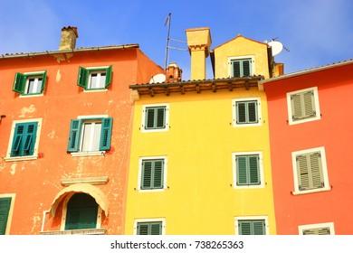 Colorful houses in Rovinj, Croatia