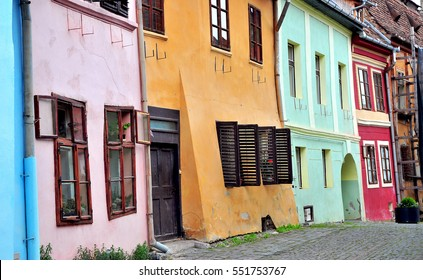 Colorful houses of Sighisoara old town in Romania