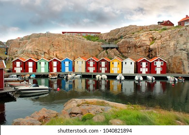 colorful houses in Smogen, Sweden